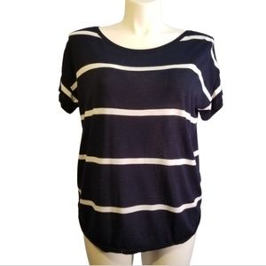 Talbots Navy and White Block Stripe Tee XL